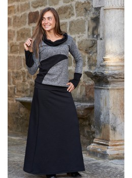 Falda larga intens jacquard negra