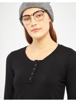 Camiseta xantik botones viscosa negra