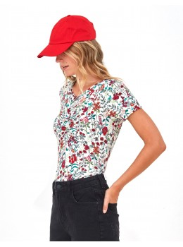 Camiseta Xantik fruncido flores