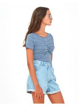 Camiseta Xantik fruncido micro blue