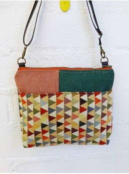 Bolso petit collage Numon triangles verd