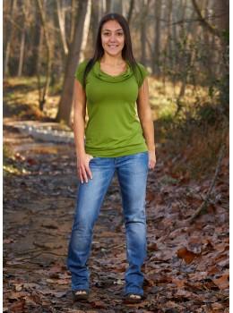 Camiseta m/c cuello verde aceituna