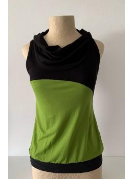 Camiseta tiras cuello combi verde aceituna